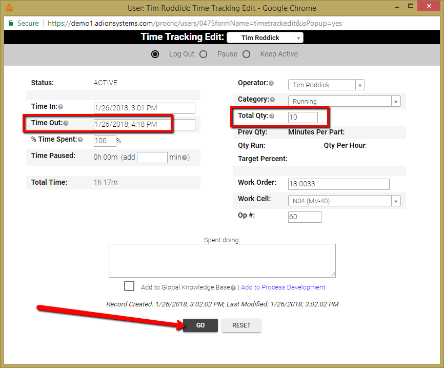 TIME TRACKING to a WORK ORDER - When a Single Operation ...