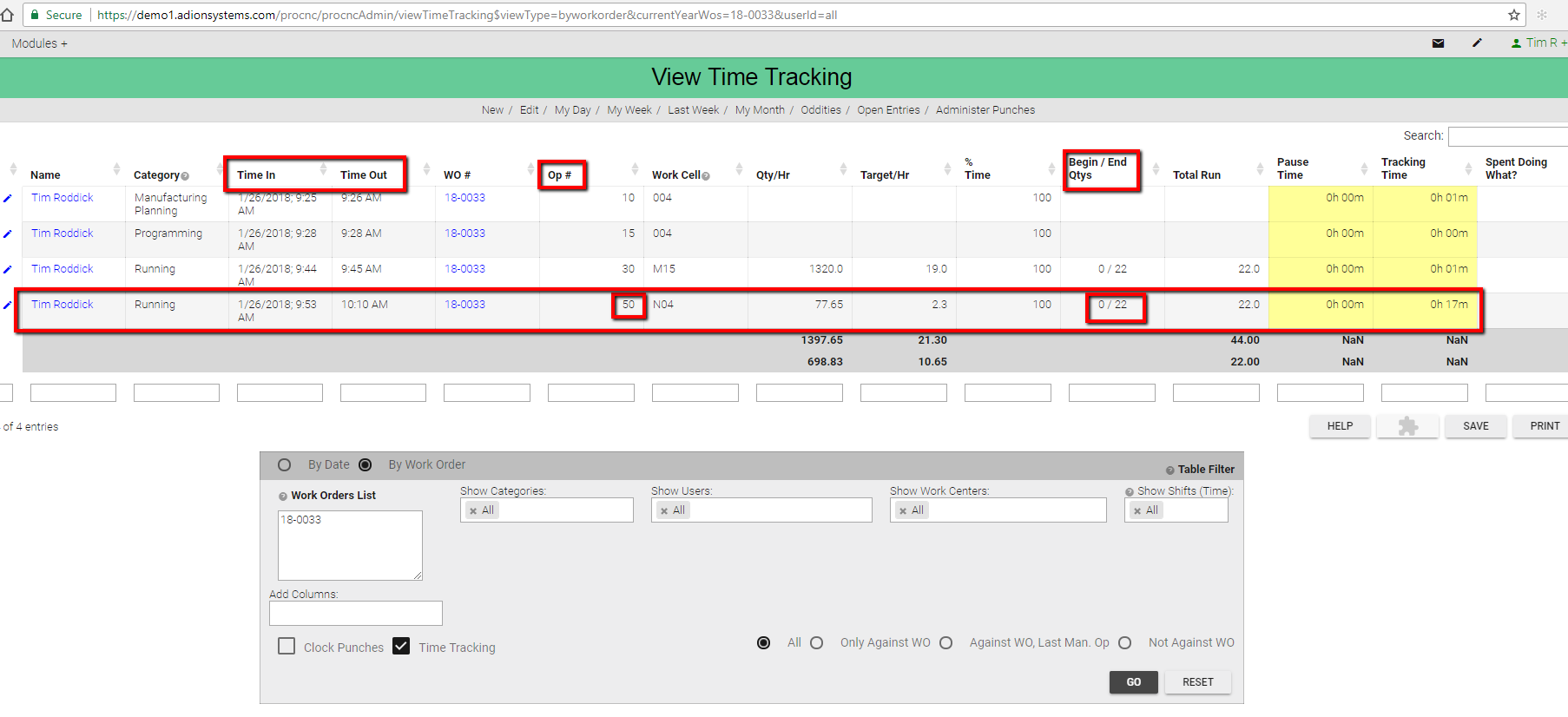 Time Tracking To A Work Order - ProShop Help